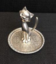 Cat Kitten Ring Holder Miniature tray Vintage EP Zinc Alloy Silver