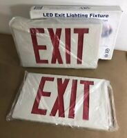 EMERGENCY LED UNIVERSAL LIGHTING FIXTURE RED LETTER EXIT SIGN BATTERY BACKUP K1