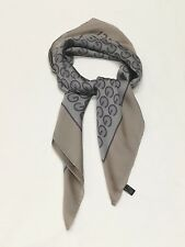 Gucci 100% Silk Logo GG Grey/Taupe/Purple Scarf Shawl Square Italy
