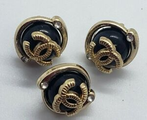 Set of 3 Chanel black pearl with rhinestones button, 10 mm, TINY