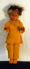 "Vintage Native American Indian Hard Plastic 8"" Doll with leather fringed clothes"