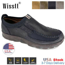 Men's Leather Casual Shoes Outdoor Antiskid Slip on Driving Loafers Moccasins W1