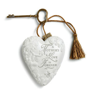 A Mother's Love Art Heart Silver Tone 4 inch Resin Stone Collectible Figurine