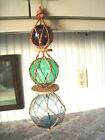 Vntg Style Glass Nautical Fishing Floats-Beach-Coast Buoy Decor-Blue Green Purpl
