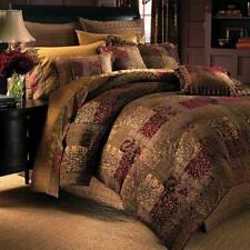 Croscill Galleria 4pc WC KING Comforter Set Brown RED Shams Bed Skirt BRAND NEW