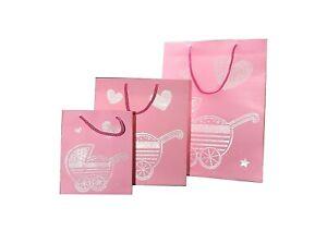 New Baby Girl Pink Silver Pram Gift Bag Present Large Medium Small Arrival Birth