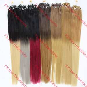 """16-26"""" Easy Loop Micro Rings Ombre Hair Remy Human Hair Extensions Straight 100s"""