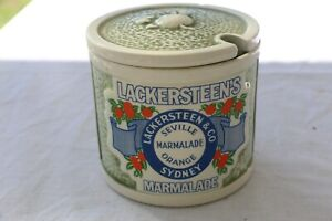 Stunning Vintage Lackersteen's Sydney Marmalade Orange Jar/Pot - Pottery