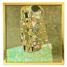 """""""The Kiss"""" Gustav Klimt Print Stands 26"""" Tall in Wooden Gold Painted Frame"""