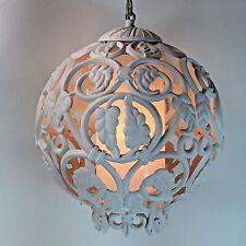 Vintage White Globe Swag Lamp Vine Design Lightweight Plastic Material Works