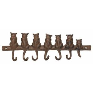 New Cast Iron 6 Hook Cat Wall Hanger X2658