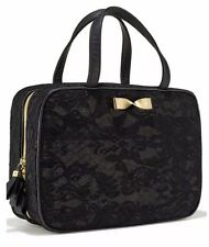 Victoria's Secret Hanging Travel Case Makeup Bag Clear Black Lace Gold Bow