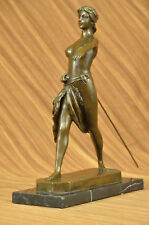 DIANA ARTEMIS THE HUNTRESS GREEK ROMAN GODDESS 100% BRONZE STATUE ON MARBLE GIFT