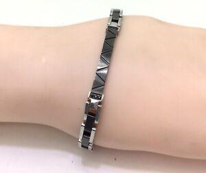 "Sector Stainless Steel Black Silver Bracelet, 7""/18 cm RRP £55"