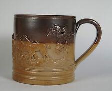 An English salt glazed Brampton stoneware hunting scene 1 quart mug. C1835