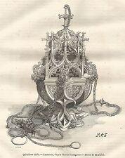 A5424 Turibolo del XV secolo - Xilografia - Stampa Antica del 1850 - Engraving