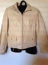 PRICED TO SELL: Kenneth Cole New York Cream Leather Front Zip Jacket: Small (dj)