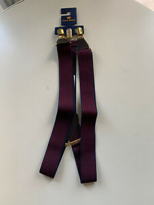 Club Room Men's Striped Elastic Clip-On Suspenders (Wine/Navy, OS)