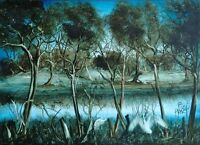"""Pro Hart (Kevin Charles Hart) 1928-2006..Signed Origional Oil....""""Water Birds"""""""