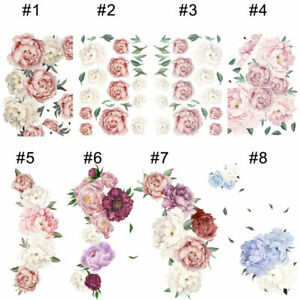 Large Peony Rose Flower Art Wall Sticker Living Room Family Background Decal DIY