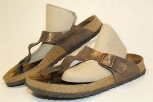 Papillio Birkenstock USED Gizeh Womens 11 42 Metallic Suede Thongs Sandals Shoes