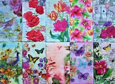 *POOCH & SWEETHEART 10 Ten Mixed Guest Paper Napkins Decoupage ~Floral~Butterfly