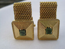 MINT!  Vintage Gold-Tone Wrap-Around Cufflinks with Jade Stones, Signed Dante