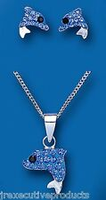 Child's Dolphin Set Silver Children's Crystal Dolphin Pendant & Earring Set