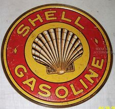 """SHELL Gasoline 12"""" Round Tin Sign Gas Station Oil Lube Grease"""