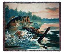 Large Mouth Bass ~ Buzz Off Fisherman Tapestry Afghan Throw
