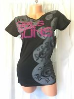 Girls With Guns Black Pink T Shirt top GWG NRA Medium Bullet graphic print NWT