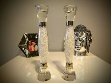 New Pair of Medium Candle Stick Holders filled with Swarovski Crystals
