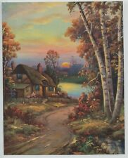 """1933 Vintage Print Sunset Cottage Scene Birch Trees """"Where Welcome Waits"""""""