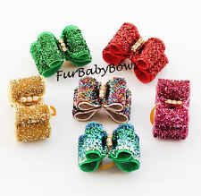 30 Crystal Glitter fancy Velvet show Yorkie Puppy dog grooming Bow rubber bands