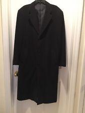 "Men's Hand-Tailored Wool Long Dress Coat Dark Charcoal Grey/ Black-Chest 21 1/4"""
