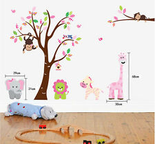 Giant Animals Friends Zoo Monkey Zebra Removable Wall Stickers Decal Nursery