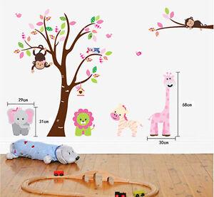 Giant Animals Friends Zoo Monkey Zebra Removable Wall Stickers Decal Nursery
