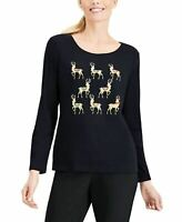 Karen Scott Longsleeve Reinder Parade Scoopneck Top Black XL