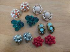 Vintage clip on earrings, 6 pair of bead, stone, & plastic multicolored earrings