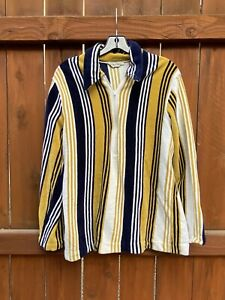 VTG 1960's men's Roos Atkins heavy velour striped up front pullover LG AS IS