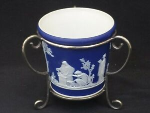 Antique WEDGWOOD Small Miniature Jasperware CACHE POT in EPNS Stand c1900