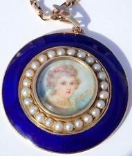 Enamel Pearl Girl Portrait Necklace Antique French Georgian Gold Silver Blue
