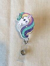 Pastel Unicorn SD Retractable Reel ID Badge Holder Lanyard