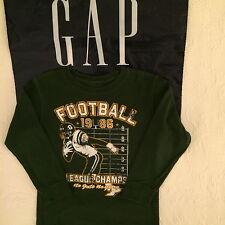 GAP Kids boys long sleeve graphic tee shirts, size XS (4-5), green, cotton