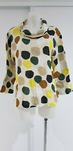 DONNA DONNA Linen Polka Dot Round Neck Top - S-M - AS NEW