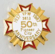 Pioneer City 50th Anniversary 1987 Veterans VFW Pin Badge Rare Vintage (N23)