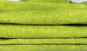 BUBBLY WASHED LIME GREEN Lambskin Lamb leather 2 skins total 10sqf 1.6mm #A7419