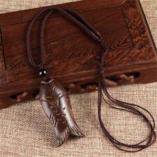 Vintage Unisex Buddha Blessing Ebony Wood Carving Rope Pendant Long Necklace Fish
