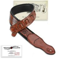 Walker & Williams G-114 Chestnut Brown Strap with Embossed Tooling & Padded Back