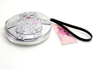 Betsey Johnson Luv Betsey Robot Coin Purse Wristlet Handbag Silver Metallic New!